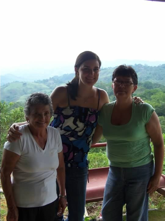 Albin's gma, mom, and me. I'm leaning, but I'm still giant.